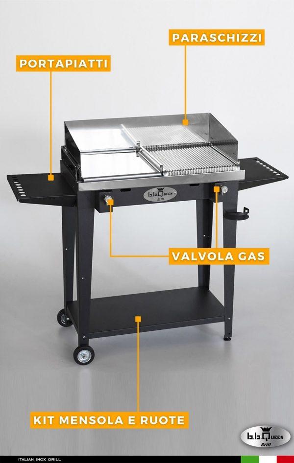 grill gas 84 antracite dettagli bbqueengrill